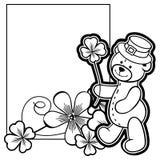 Esboce o quadro com contorno do trevo e urso de peluche Clipart da quadriculação ilustração stock