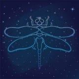 Esboce o vetor da libélula, libélula bonita tirada mão da fantasia sobre no fundo galáctico do espaço do céu noturno estrelado De Foto de Stock