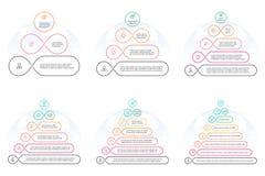 Esboce pirâmides com 3 - 8 etapas, níveis Imagens de Stock Royalty Free