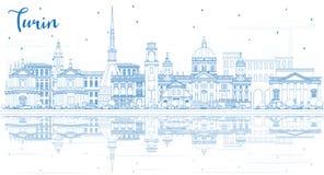 Esboce a skyline da cidade de Turin Itália com construções azuis e reflita-a ilustração royalty free