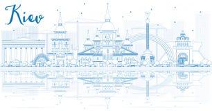 Esboce a skyline de Kiev com construções azuis e reflexões ilustração royalty free