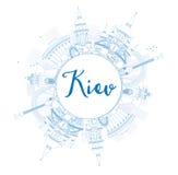 Esboce a skyline de Kiev com marcos azuis e copie o espaço ilustração do vetor