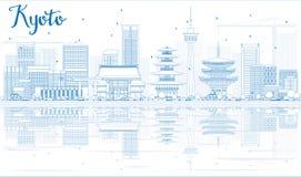 Esboce a skyline de Kyoto com marcos azuis e reflexões ilustração royalty free