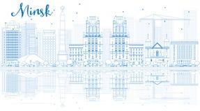 Esboce a skyline de Minsk com construções azuis e reflexões ilustração royalty free