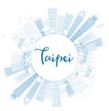 Esboce a skyline de Taipei com marcos azuis e copie o espaço ilustração stock