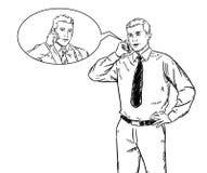 Esboce uma ilustração do estilo de dois homens de negócios que falam no telefone celular ilustração royalty free
