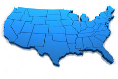 Esboço azul do mapa de Estados Unidos Fotos de Stock Royalty Free