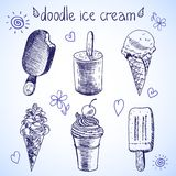 Esboço congelado do estilo da sobremesa do gelado da garatuja Imagens de Stock Royalty Free
