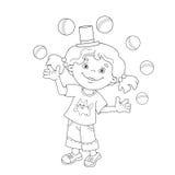 Esboço da página da coloração da menina que manipula as bolas Imagens de Stock Royalty Free