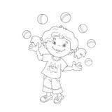 Esboço da página da coloração da menina que manipula as bolas Imagem de Stock Royalty Free