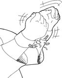 Esboço das mãos que quebram grilhões Foto de Stock