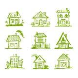 Esboço de casas da arte para seu projeto Fotos de Stock Royalty Free