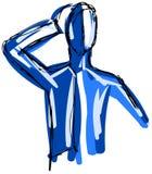 esboço de um homem estilizado em tons azuis Fotos de Stock Royalty Free
