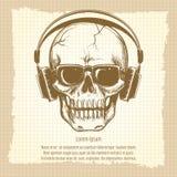 Esboço do crânio com estilo do vintage dos fones de ouvido Fotografia de Stock Royalty Free