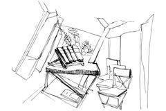 Esboço do vetor da sala com cadeiras Fotografia de Stock