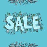 Esboço grande da venda Entregue a ilustração tirada com galhos, pinho do vetor Imagem de Stock Royalty Free