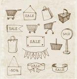 Esboços de objetos da compra no estilo do vintage Fotografia de Stock