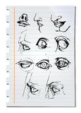 Esboços desenhados mão do lápis Imagem de Stock