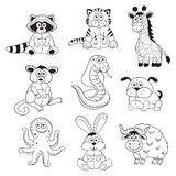 Esboços dos animais dos desenhos animados Imagens de Stock Royalty Free