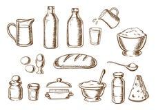 Esboços dos ingredientes da padaria e do pão Fotos de Stock