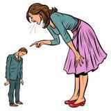 Escándalo de la familia Esposa que grita en el marido libre illustration