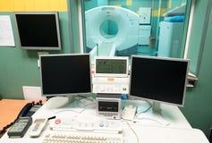 Escáner del CT (tomografía computada) en un hospital de la oncología Imagen de archivo