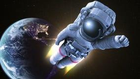 Escápese de la tierra, astronauta Flies en espacio ilustración del vector