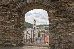 Escúdese la torre, Wehrturm Elsterberg, Burg Ruine Imagen de archivo