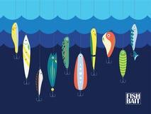 Esca di pesca differente di colore con i grandi e piccoli pesci del fumetto nell'oceano o nel mare Marine Background With Baits b royalty illustrazione gratis