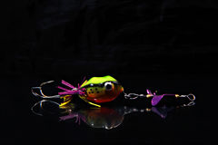 Esca di pesca su fondo nero Fotografia Stock