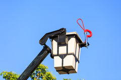 Escada da cubeta de fogo para o sapador-bombeiro Imagem de Stock Royalty Free