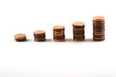 Escada das moedas imagens de stock