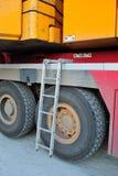 Escada de alumínio no guindaste Imagem de Stock Royalty Free
