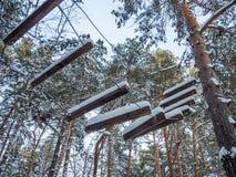A escada de corda para Santa Claus cobriu com a neve, Novosibirsk, Rússia imagens de stock royalty free