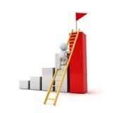 escada de escalada do homem 3d à bandeira vermelha sobre o gráfico bem sucedido Fotografia de Stock