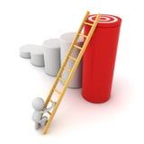 escada de escalada do homem 3d ao alvo do objetivo na parte superior do gráfico vermelho do cilindro Fotografia de Stock Royalty Free