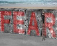 A escada de escalada do homem de negócios confunde a palavra vermelha do medo do muro de cimento Fotos de Stock