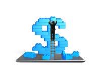 Escada de escalada do homem de negócios que termina o sinal de dólar com smartpho Imagem de Stock
