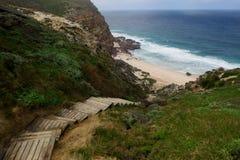 Escada de madeira que conduz em uma praia selvagem foto de stock