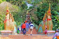 Escada do Naga em Wat Phra That Doi Suthep, Chiang Mai, Tailândia Imagem de Stock
