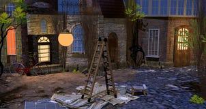 Escada dobro na jarda na noite Fotos de Stock Royalty Free