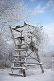 Escada e carrinho de madeira na neve fotos de stock