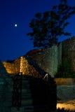 Escada na parede do castelo no luar Foto de Stock