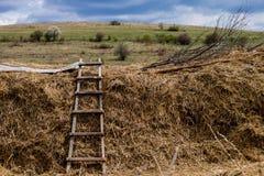 Escada nos campos sob o céu nebuloso fotos de stock