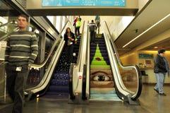 Escada rolante colorida Fotografia de Stock Royalty Free