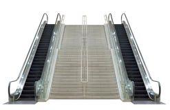 Escada rolante, isolada no fundo branco Fotografia de Stock