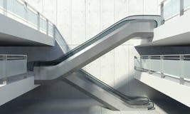 Escada rolante movente e prédio de escritórios moderno Fotografia de Stock