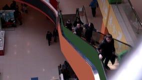 Escada rolante na alameda de compra Multidões de povos na escada rolante Timelapse video estoque