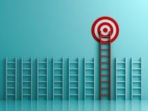 Escada vermelha longa ao alvo do objetivo o conceito do negócio no fundo azul da cor pastel ilustração do vetor