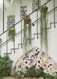 Escadaria antiga espanhola com decoração e folha, retrato Fotos de Stock